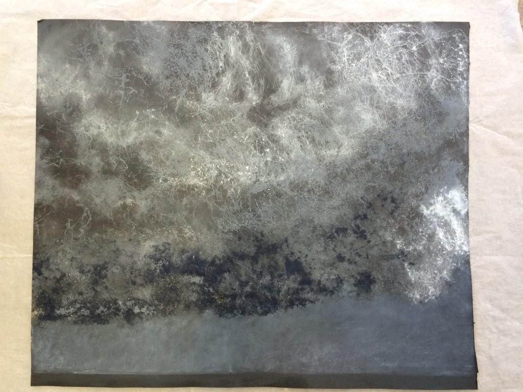 Painting: 'Imminent: Storm Clouds'. Charcoal, pastel, carborundum. 90cm x 20cm x 5cm