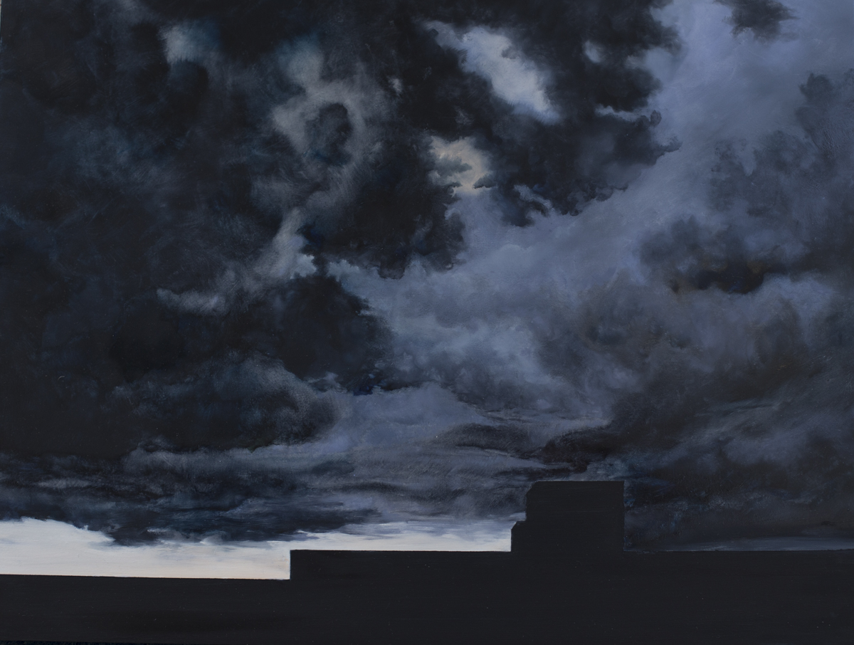 Powerstation & The Storm  Oil on gesson on board.  45cm x 60cm x 4cm